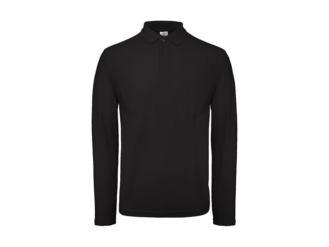 B & C ID.001 LSL Polo, Black, M bedrucken, Art.-Nr. 502421014