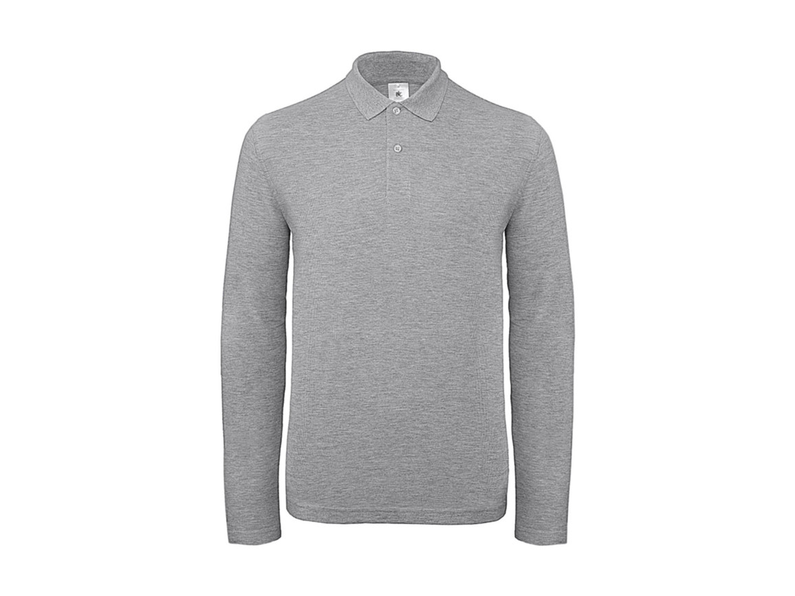B & C ID.001 LSL Polo, Heather Grey, L bedrucken, Art.-Nr. 502421235