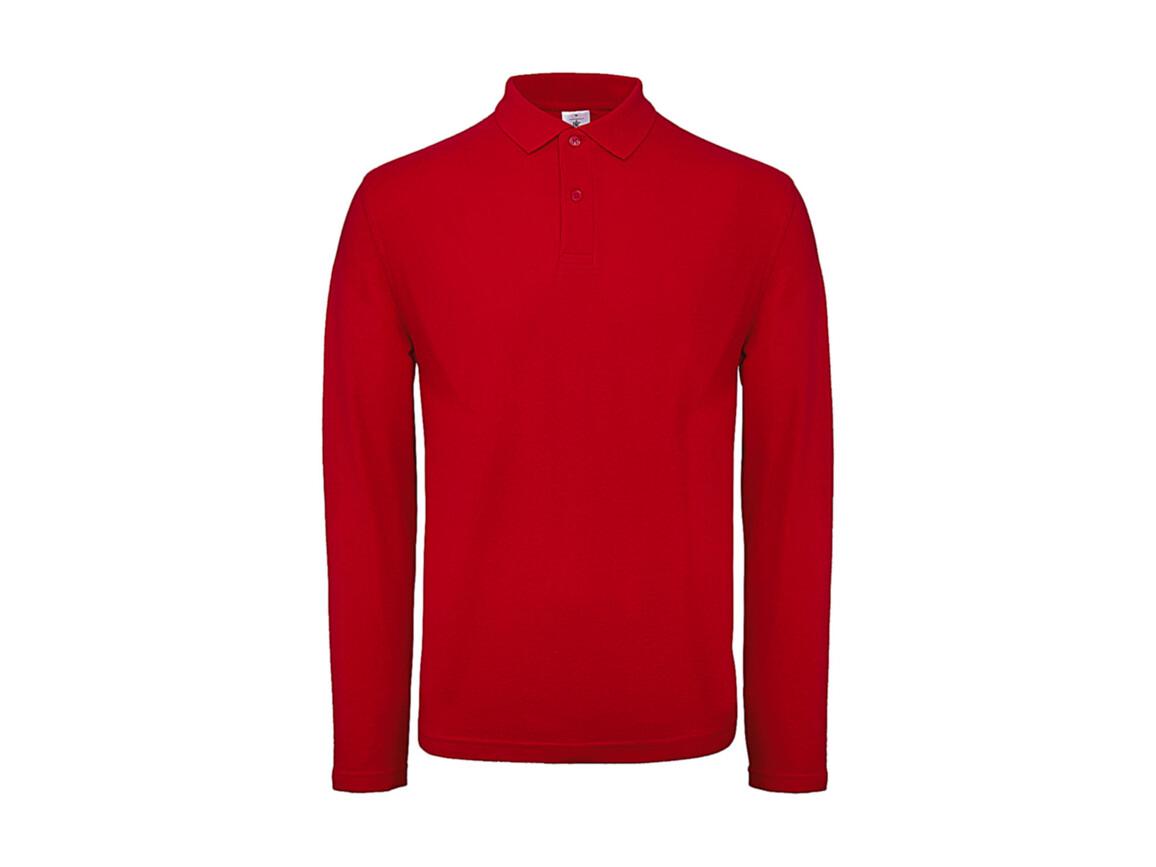B & C ID.001 LSL Polo, Red, L bedrucken, Art.-Nr. 502424005
