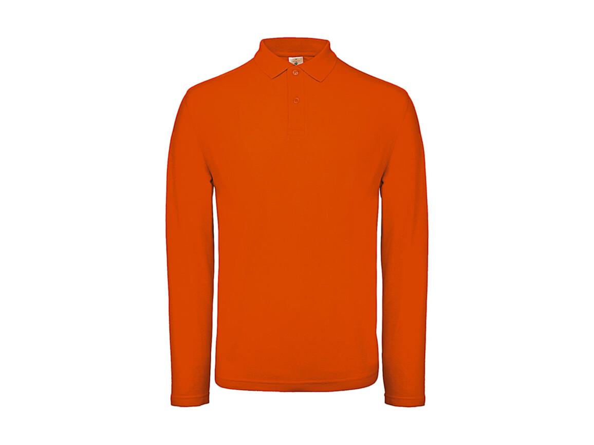 B & C ID.001 LSL Polo, Orange, M bedrucken, Art.-Nr. 502424104