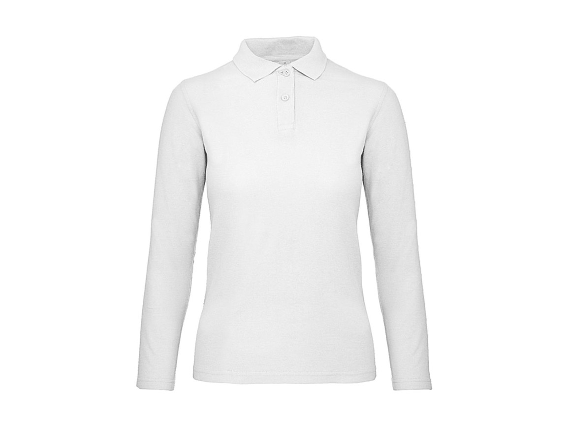 B & C ID.001 LSL /women Polo, White, L bedrucken, Art.-Nr. 503420005