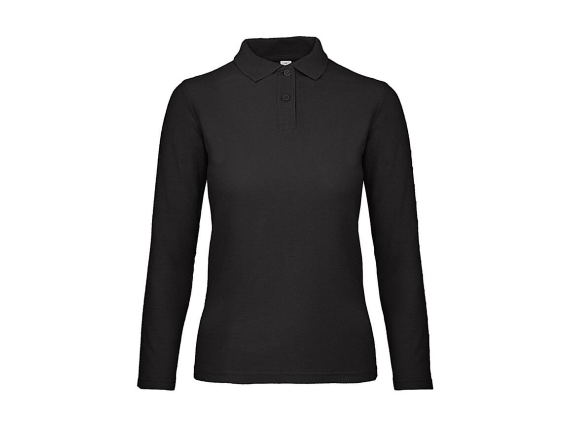 B & C ID.001 LSL /women Polo, Black, L bedrucken, Art.-Nr. 503421015