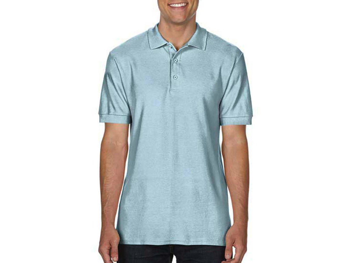 Gildan Premium Cotton Double Piqué Polo, Chambray, L bedrucken, Art.-Nr. 504093175