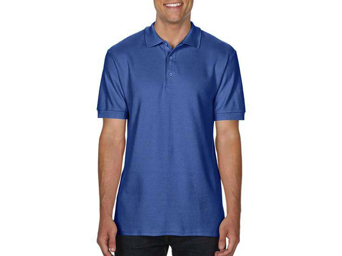 Gildan Premium Cotton Double Piqué Polo, Flo Blue, M bedrucken, Art.-Nr. 504093254