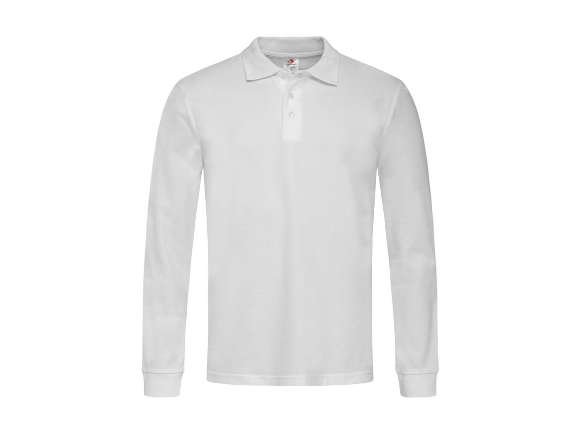 Stedman Polo Long Sleeve, White, M bedrucken, Art.-Nr. 507050004