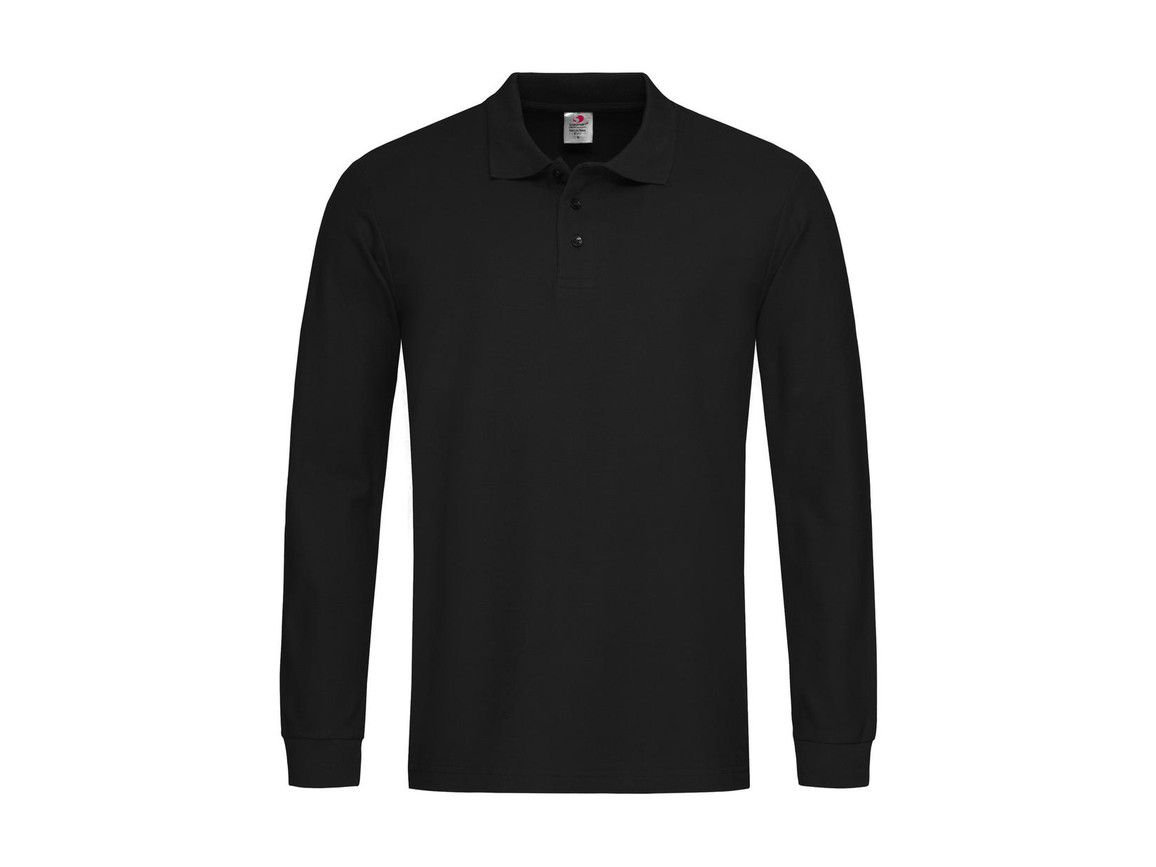 Stedman Polo Long Sleeve, Black Opal, L bedrucken, Art.-Nr. 507051025