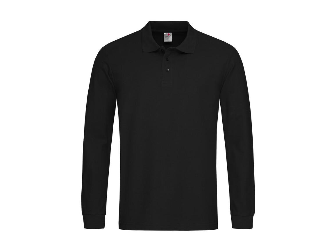 Stedman Polo Long Sleeve, Black Opal, M bedrucken, Art.-Nr. 507051024
