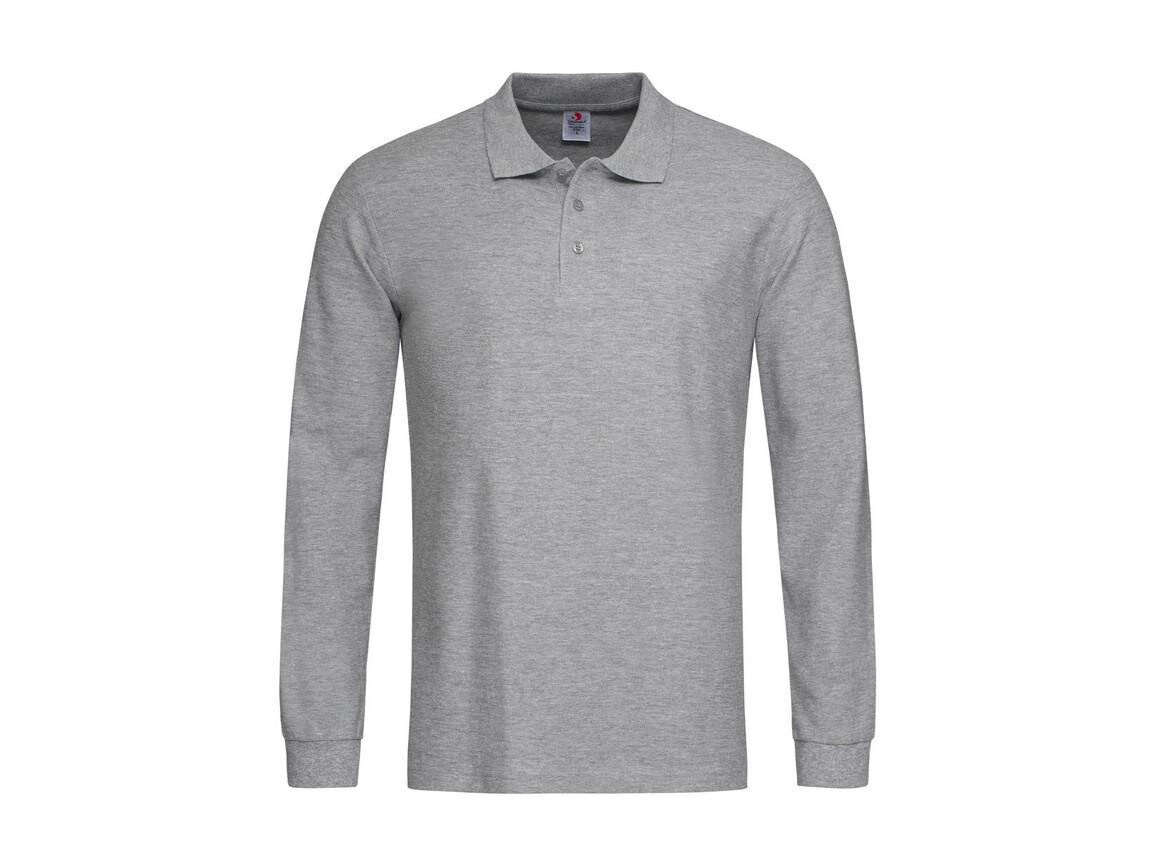 Stedman Polo Long Sleeve, Grey Heather, XL bedrucken, Art.-Nr. 507051236