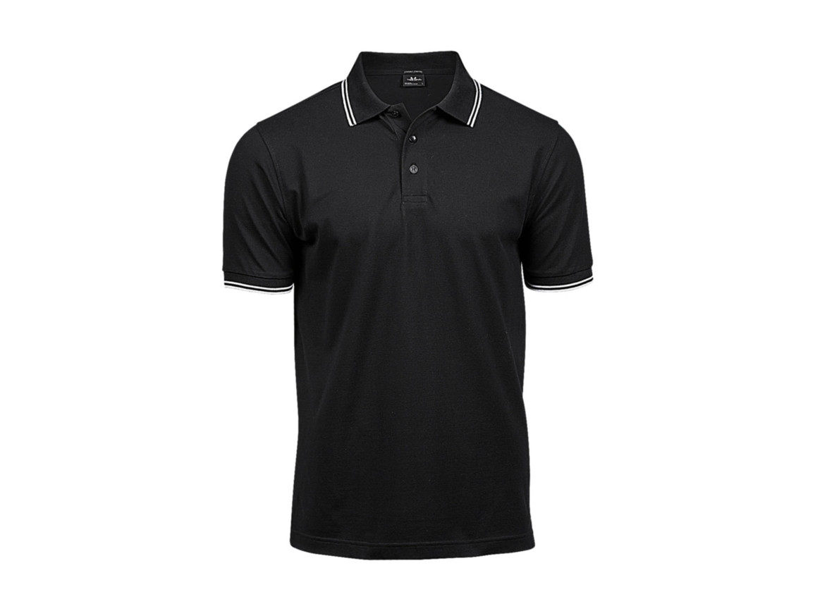 Tee Jays Luxury Stripe Stretch Polo, Black/White, S bedrucken, Art.-Nr. 507541502
