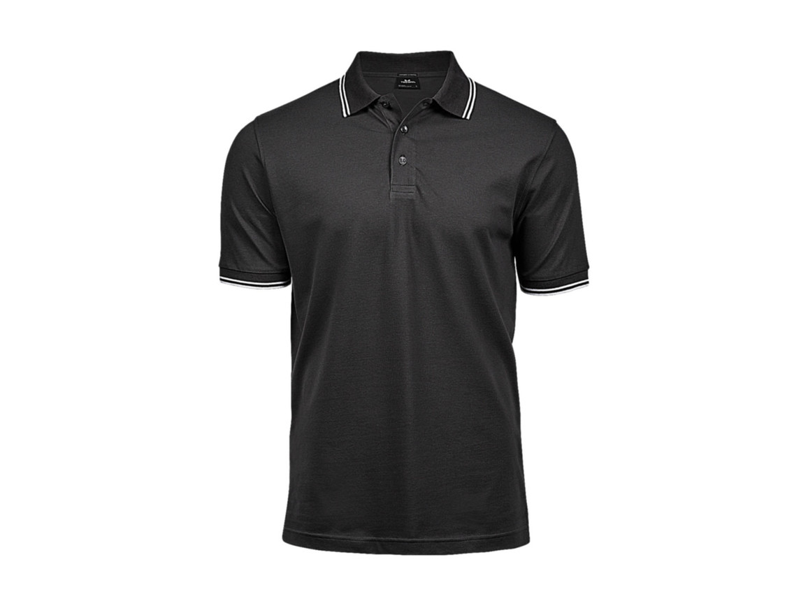 Tee Jays Luxury Stripe Stretch Polo, Dark Grey/White, XL bedrucken, Art.-Nr. 507541585