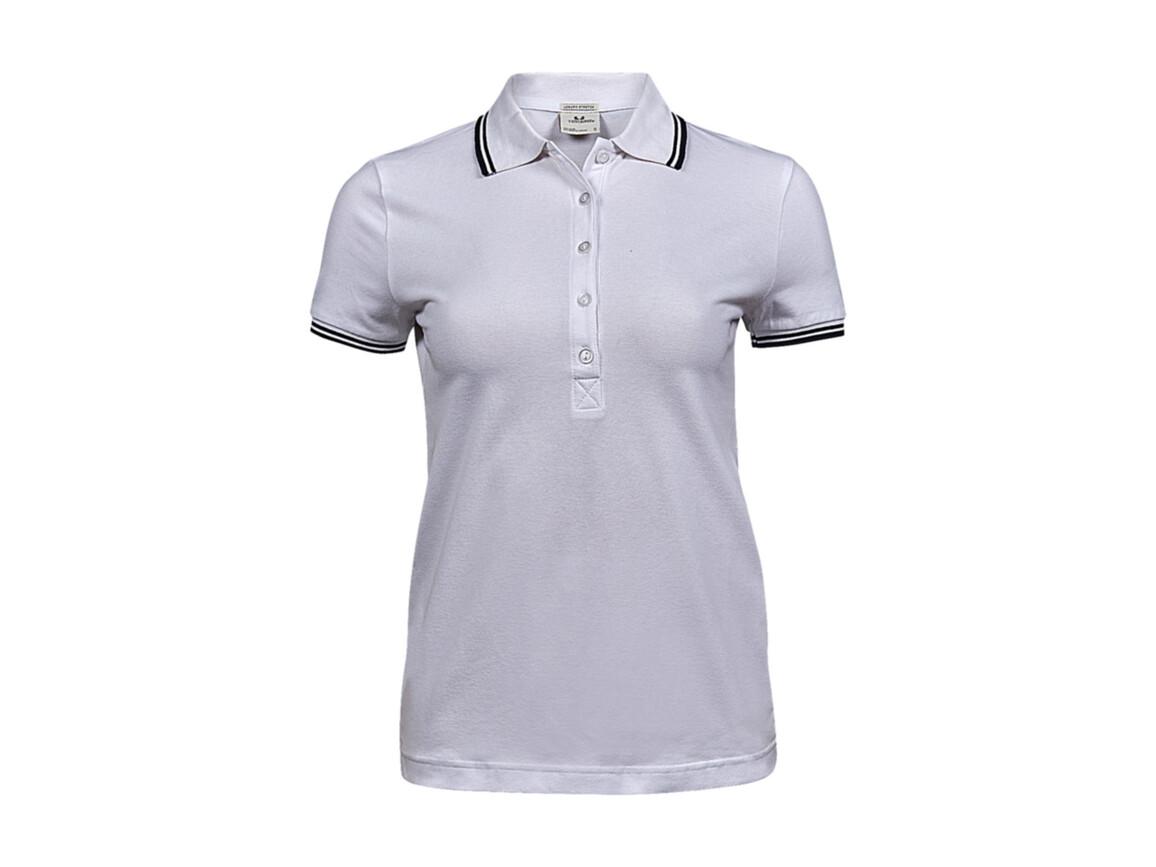 Tee Jays Ladies` Luxury Stripe Stretch Polo, White/Navy, L bedrucken, Art.-Nr. 508540525