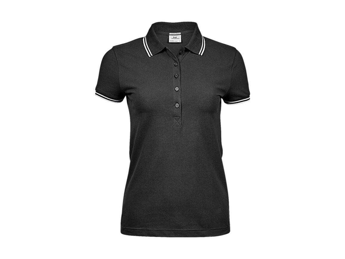 Tee Jays Ladies` Luxury Stripe Stretch Polo, Dark Grey/White, L bedrucken, Art.-Nr. 508541585