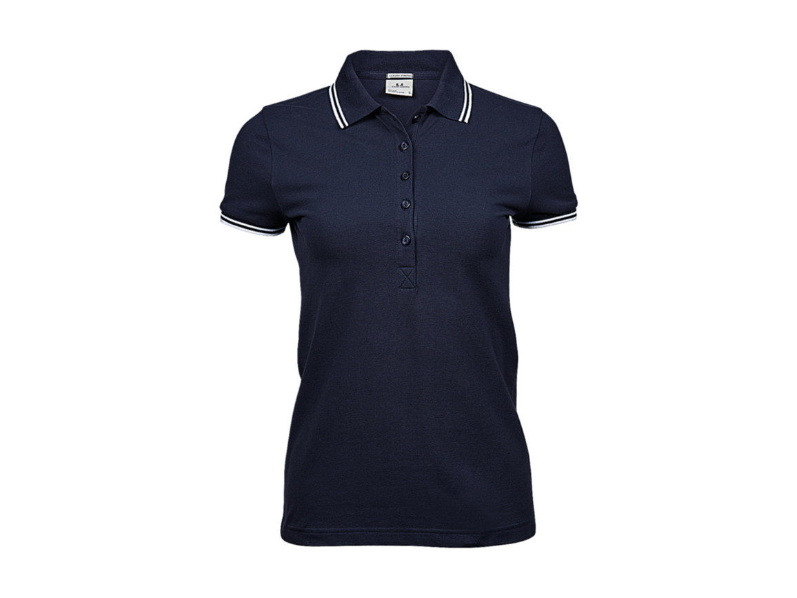 Tee Jays Ladies` Luxury Stripe Stretch Polo, Navy/White, XL bedrucken, Art.-Nr. 508542526