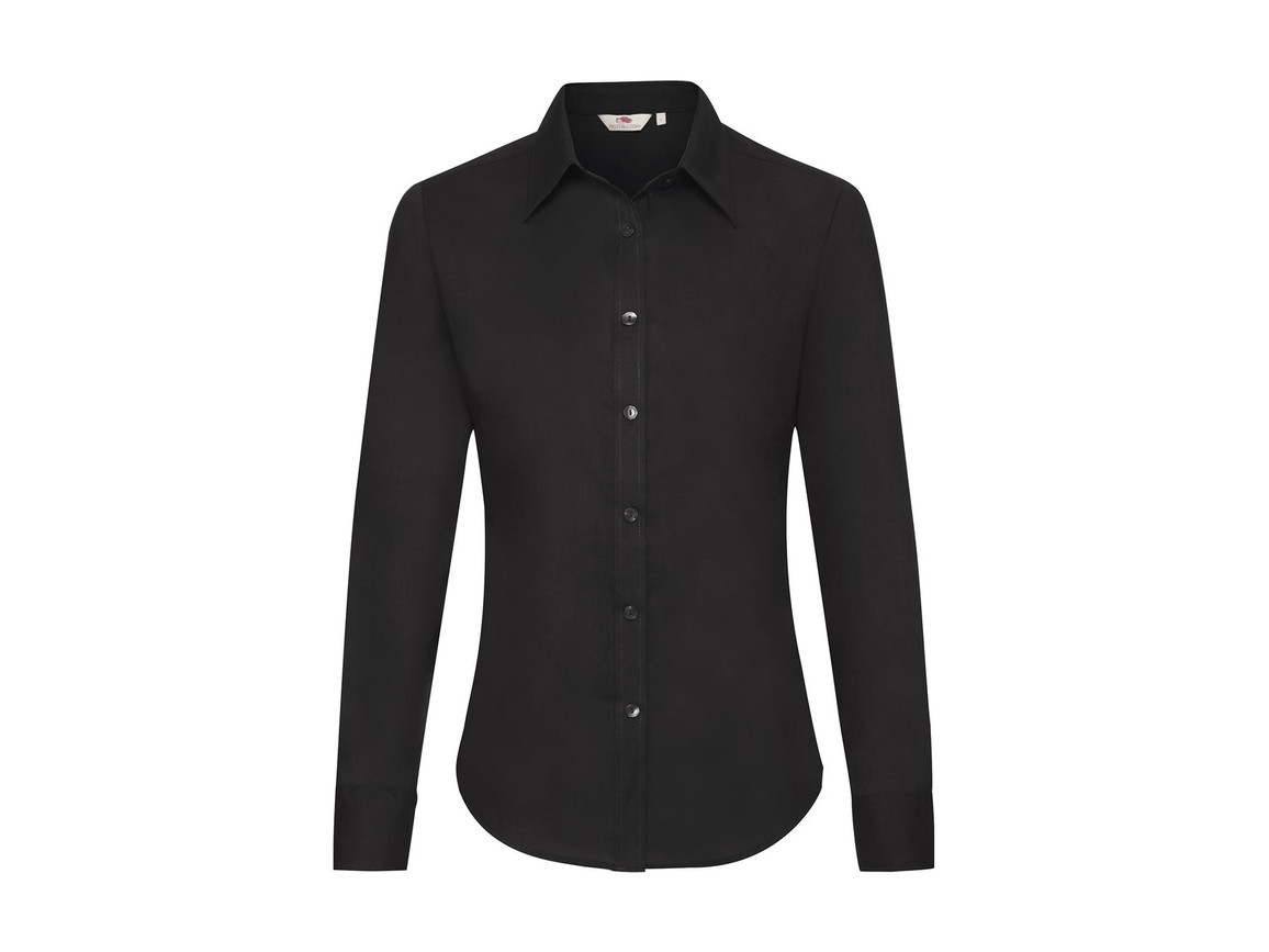 Fruit of the Loom Ladies` Oxford Shirt LS, Black, 2XL bedrucken, Art.-Nr. 702011017