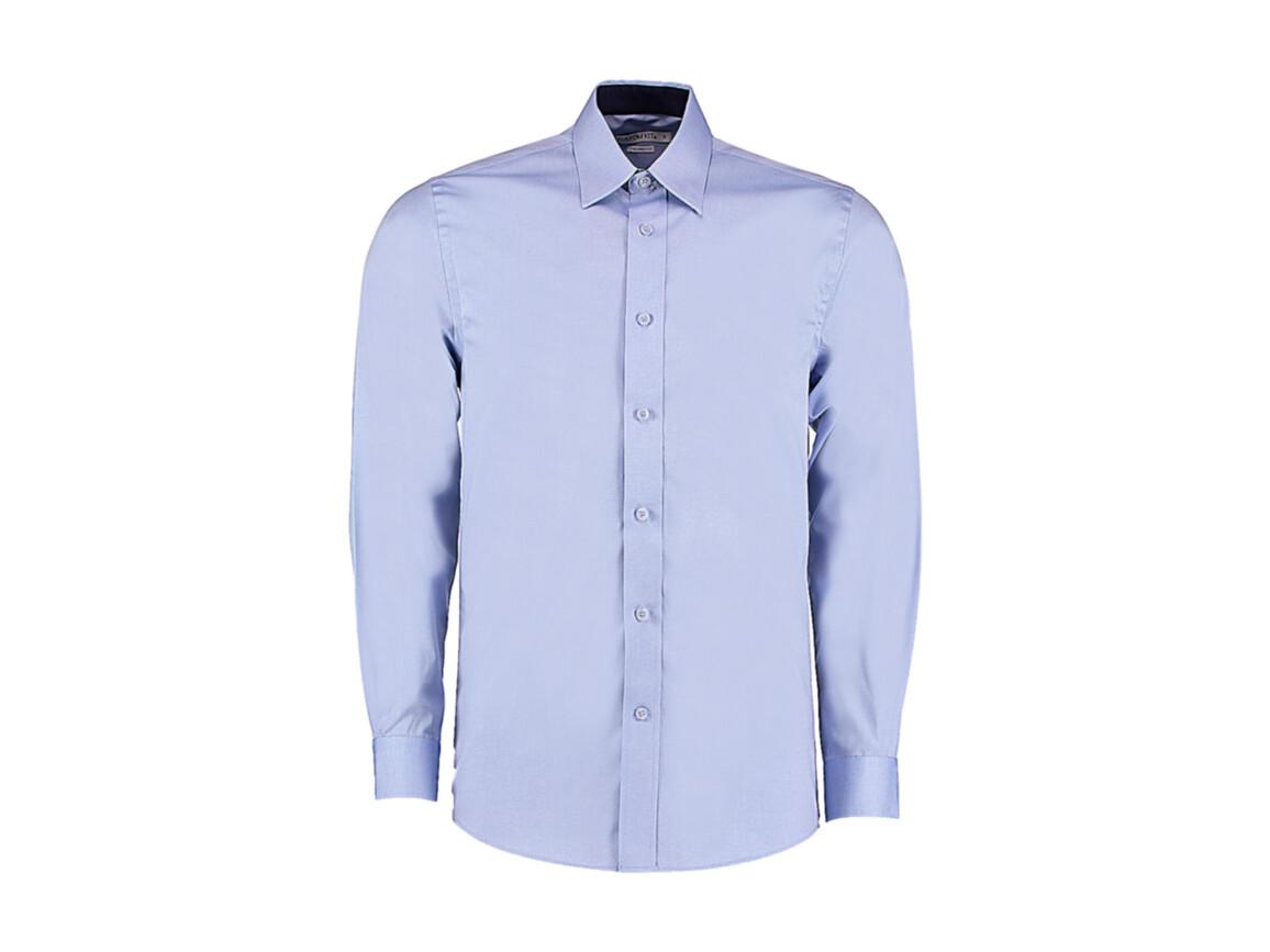 Kustom Kit Tailored Fit Premium Contrast Oxford Shirt, Light Blue/Navy, L bedrucken, Art.-Nr. 707113635
