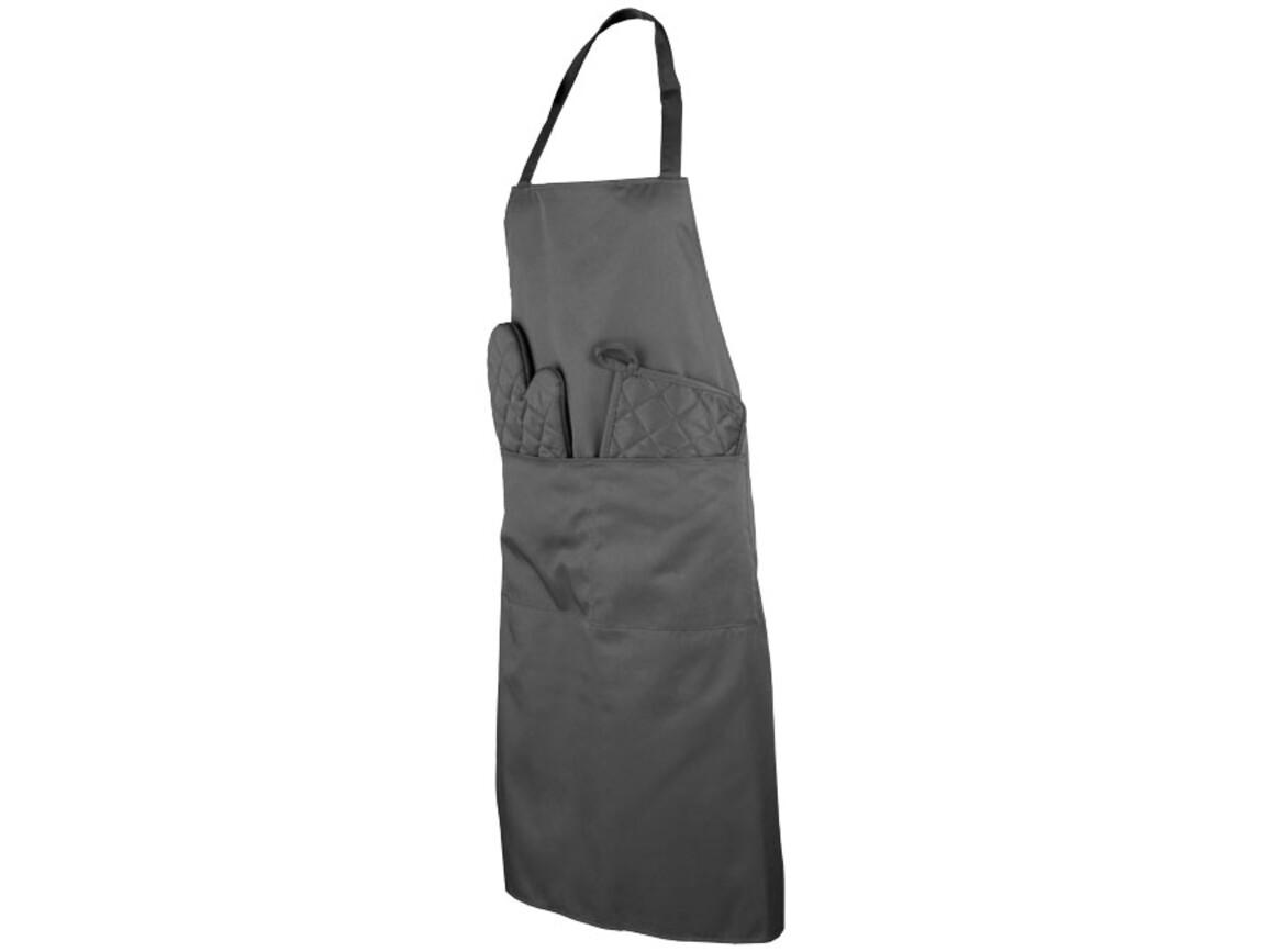 Dila 4-teiliges Küchenset in einem Beutel, grau bedrucken, Art.-Nr. 11293801