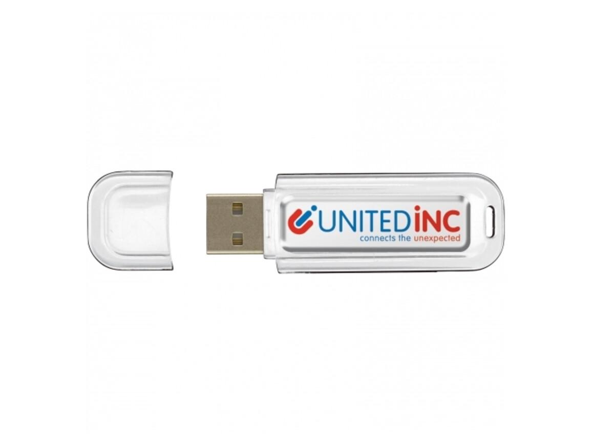 USB 4GB Flash drive Doming - Weiss bedrucken, Art.-Nr. LT26502-N0001