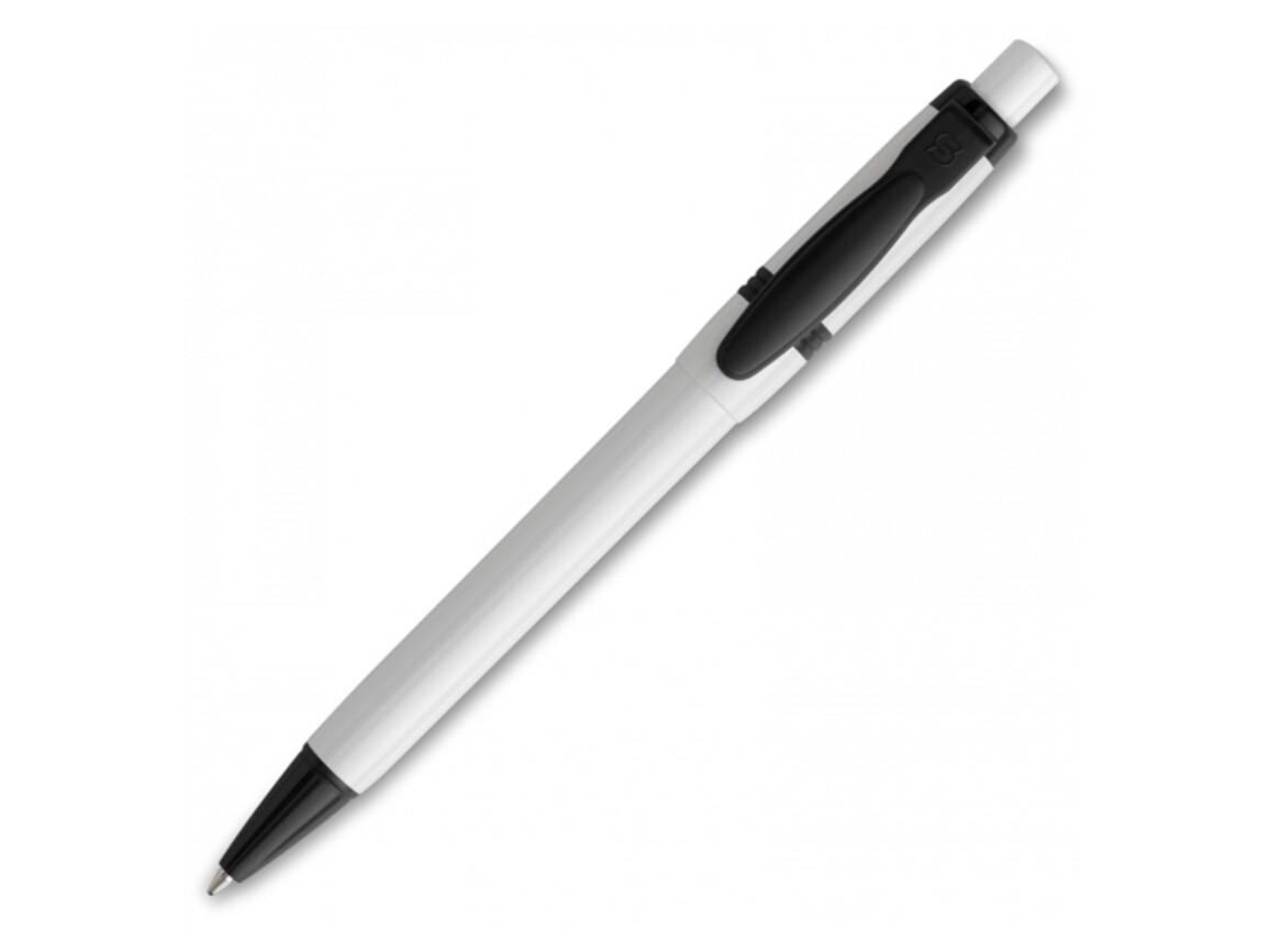 Kugelschreiber Olly hardcolour - Weiss / Schwarz bedrucken, Art.-Nr. LT80940-N0102