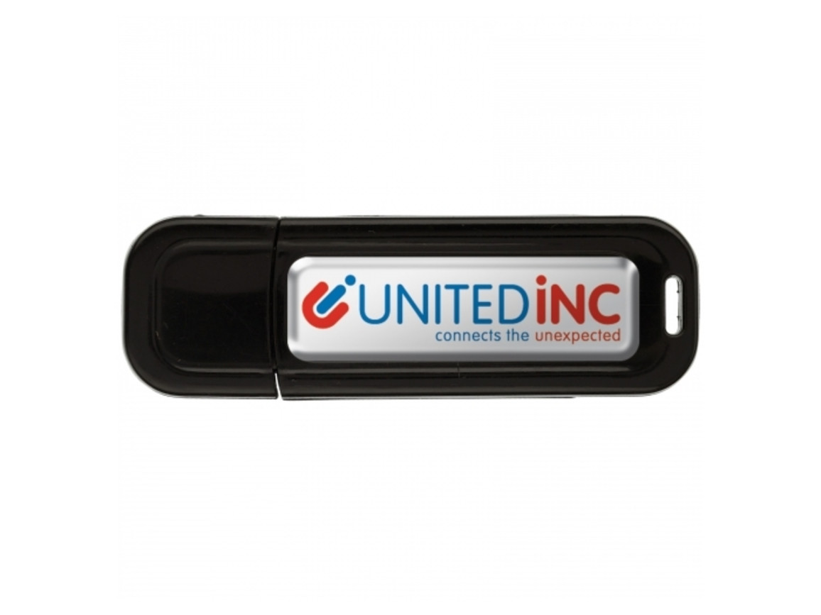 USB 8GB Flash drive Doming - Schwarz bedrucken, Art.-Nr. LT26503-N0002