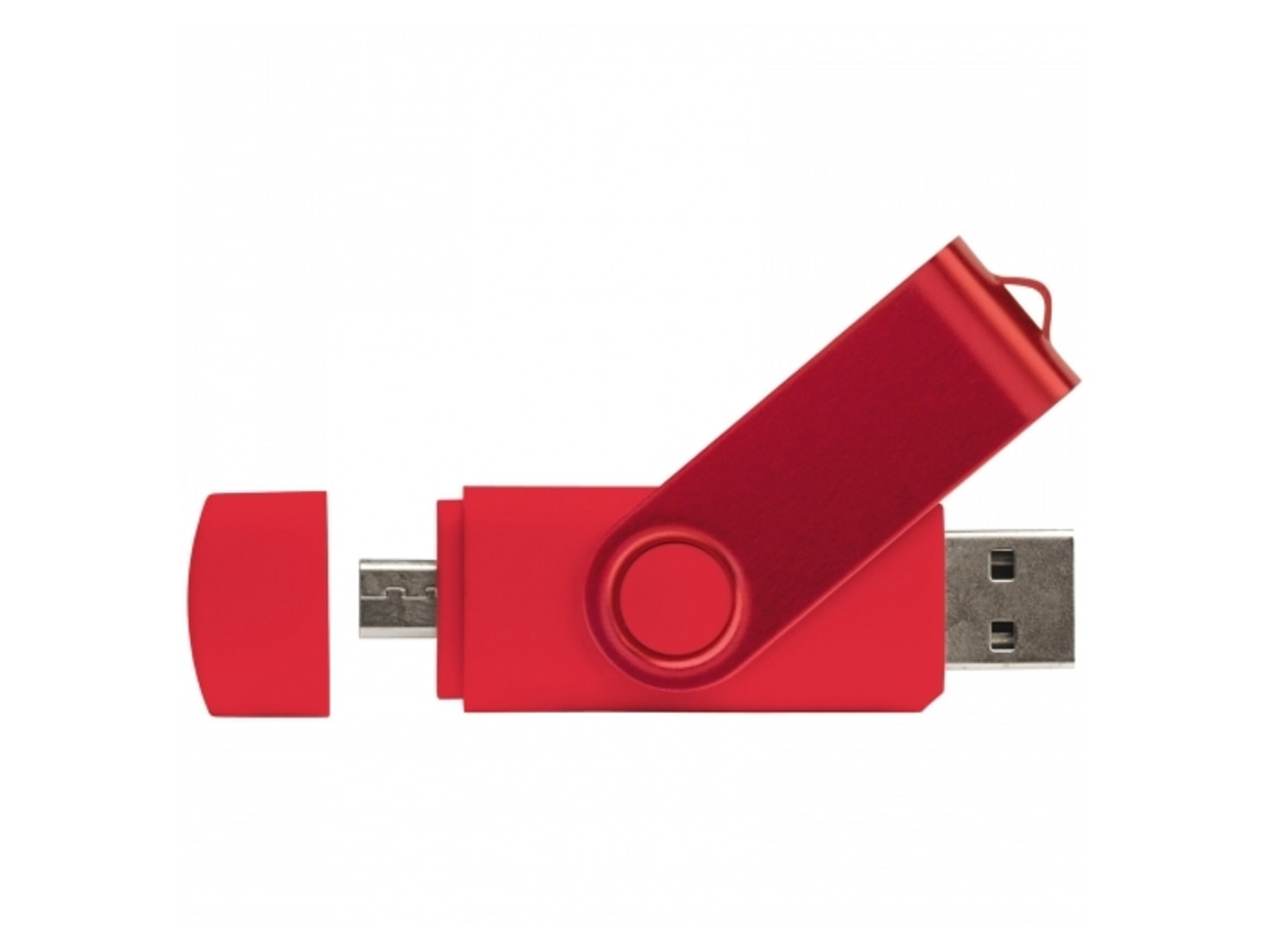 USB 2.0 OTG 16GB Flash Drive Twister - Rot bedrucken, Art.-Nr. LT26804-N0021