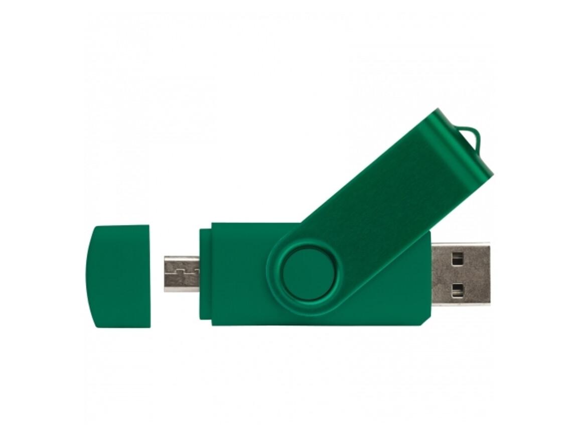 USB 2.0 OTG 16GB Flash Drive Twister - Dunkelgrün bedrucken, Art.-Nr. LT26804-N0030