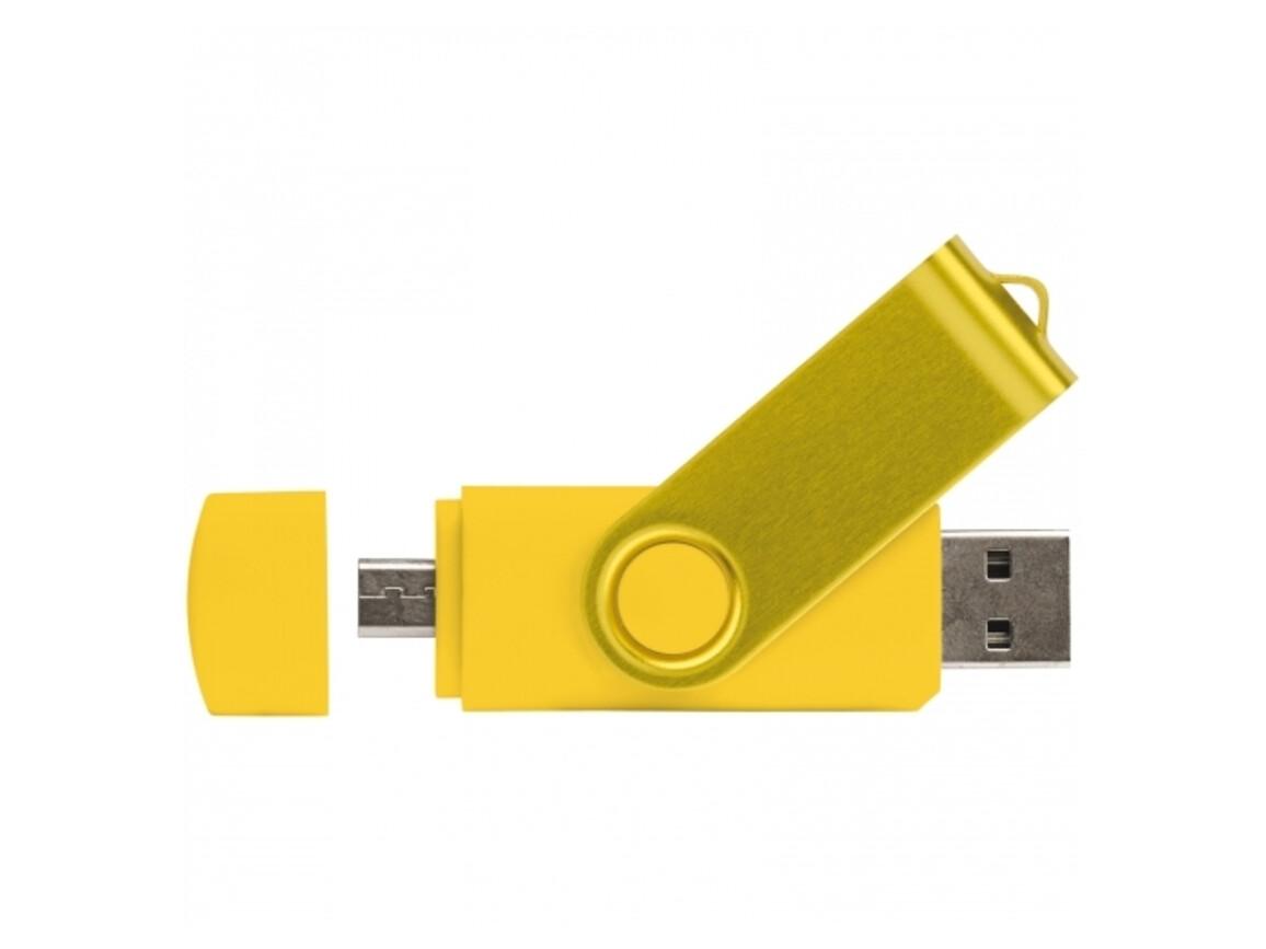 USB OTG 16 GB Flash Drive Twister mit Doming - Gelb bedrucken, Art.-Nr. LT26854-N0041