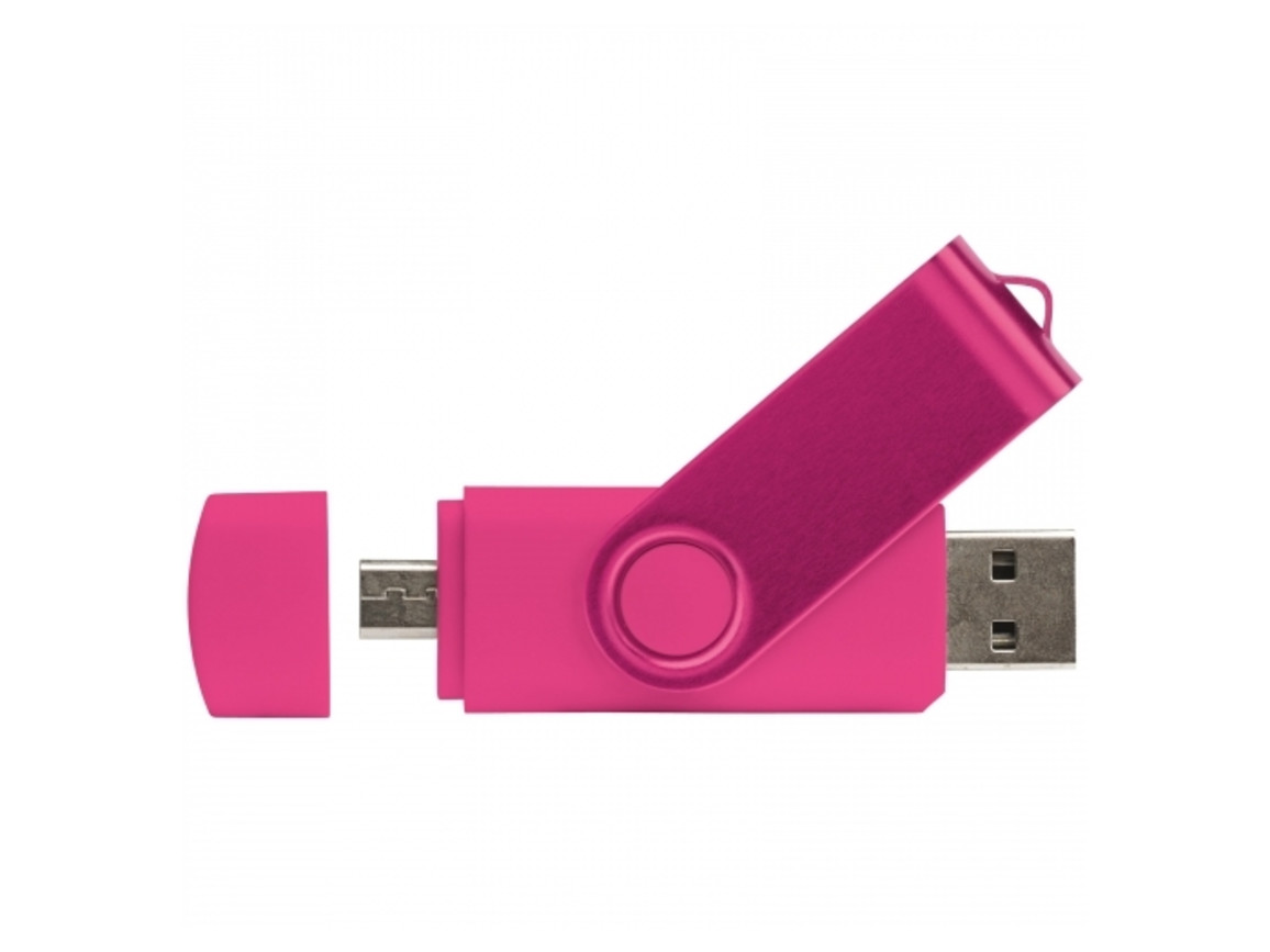 USB OTG 16 GB Flash Drive Twister mit Doming - Rosa bedrucken, Art.-Nr. LT26854-N0076