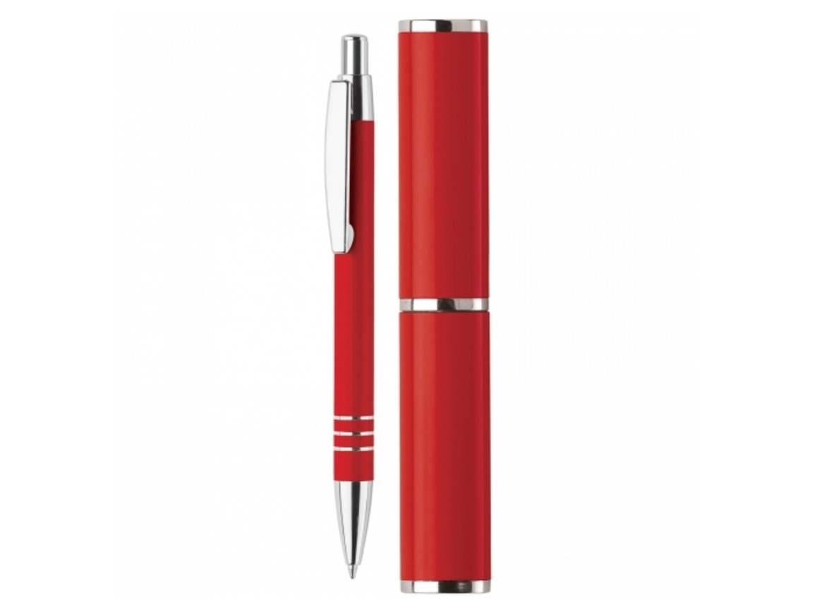 Kugelschreiber in Köcher - Rot bedrucken, Art.-Nr. LT80536-N0021