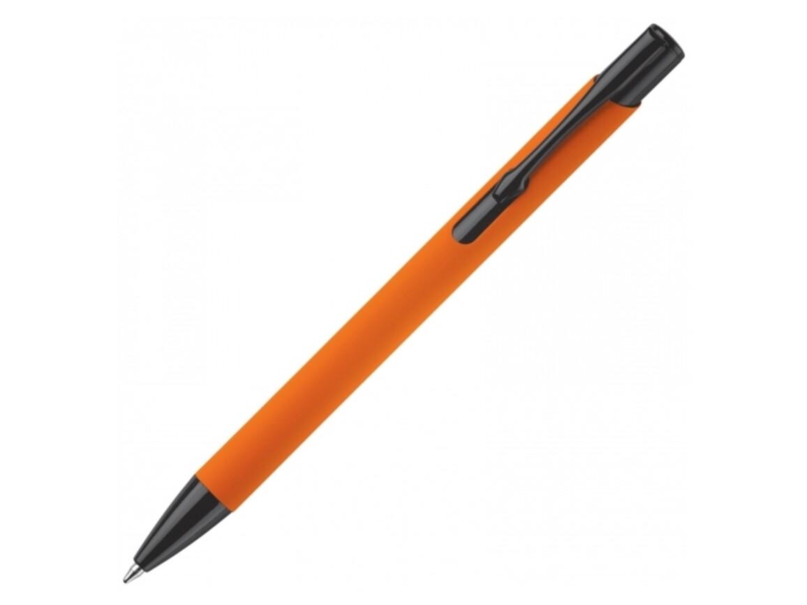 Kugelschreiber Alicante gummiert - Orange / Schwarz bedrucken, Art.-Nr. LT80537-N2602