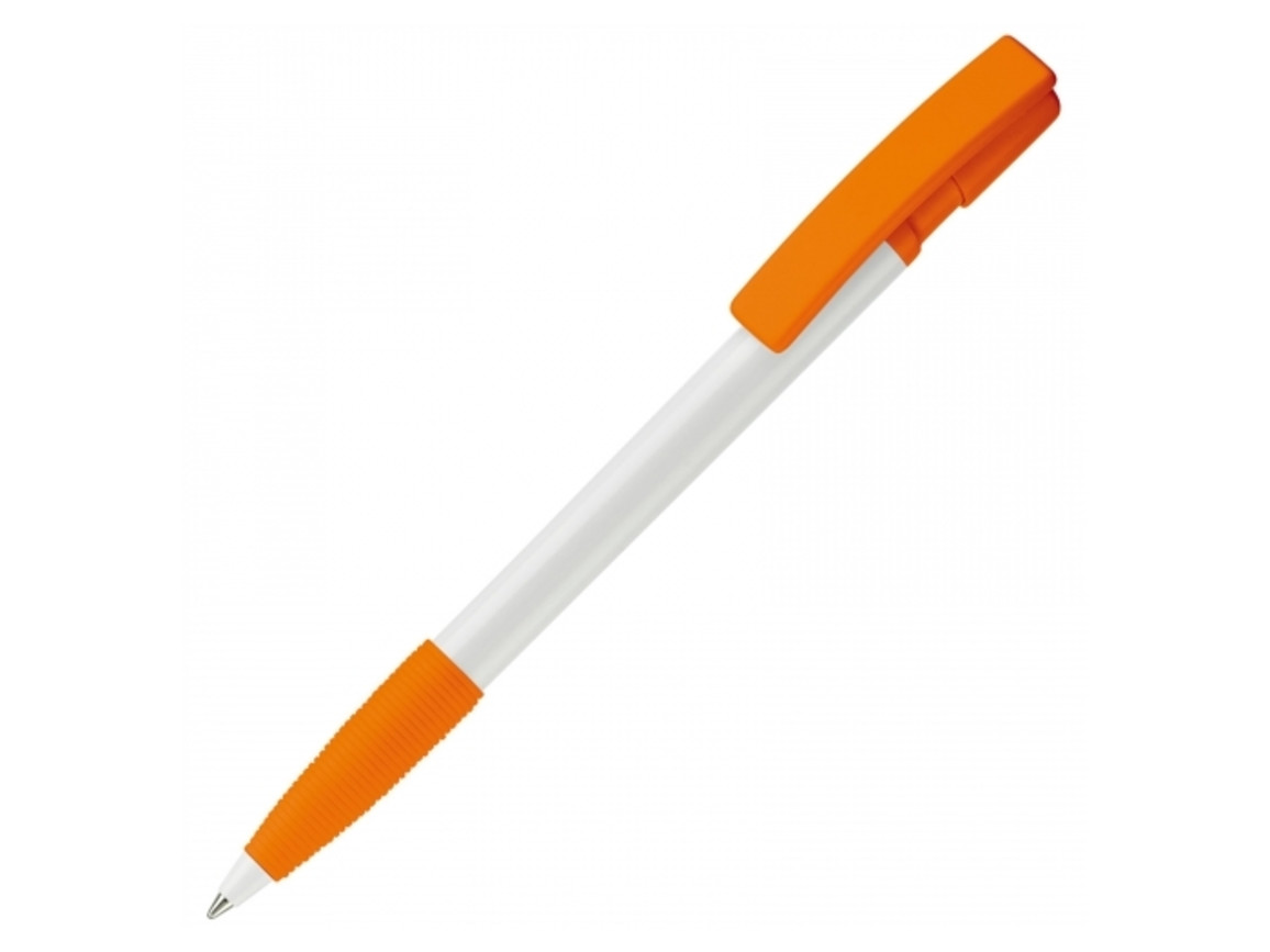 Kugelschreiber Nash Hardcolour - Weiss / Orange bedrucken, Art.-Nr. LT80801-N0126