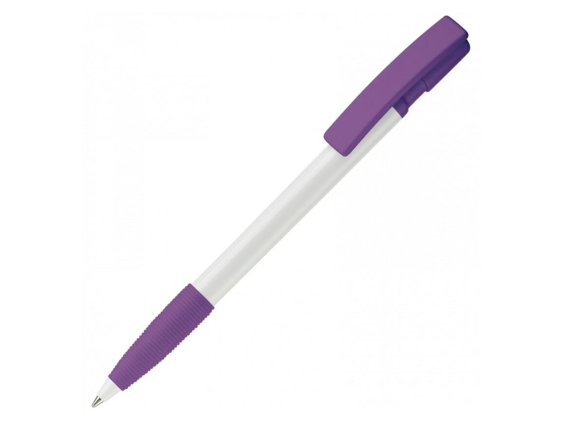 Kugelschreiber Nash Hardcolour - Weiss / Purple bedrucken, Art.-Nr. LT80801-N0172
