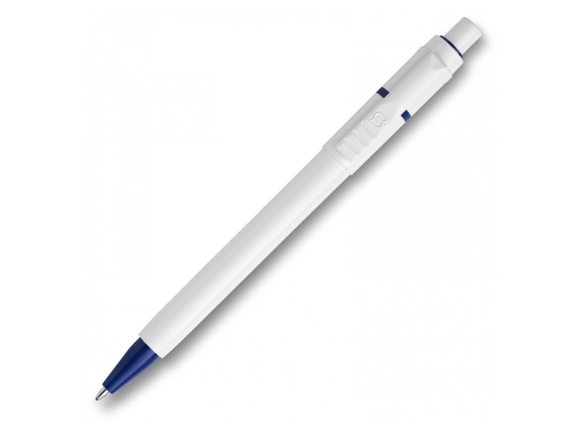 Kugelschreiber Baron hardcolour - Weiss / Dunkelblau bedrucken, Art.-Nr. LT80906-N0110