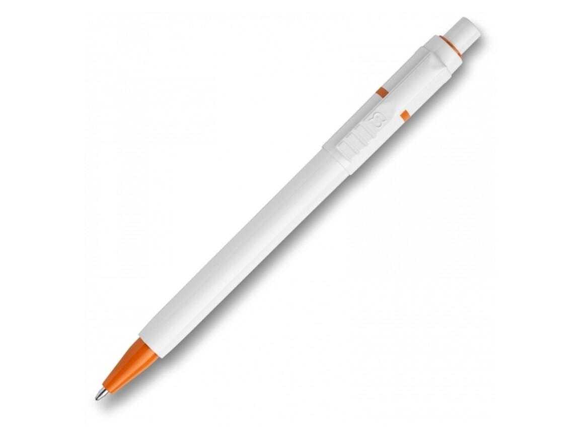 Kugelschreiber Baron hardcolour - Weiss / Orange bedrucken, Art.-Nr. LT80906-N0126
