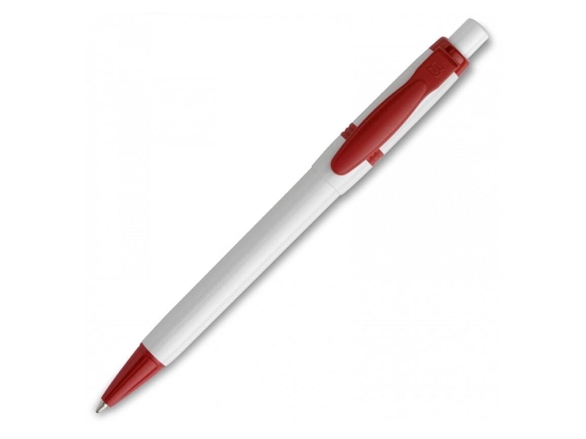 Kugelschreiber Olly hardcolour - Weiss / Rot bedrucken, Art.-Nr. LT80940-N0121