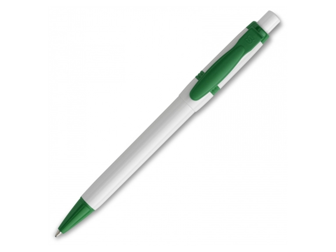 Kugelschreiber Olly hardcolour - Weiss / Grün bedrucken, Art.-Nr. LT80940-N0131