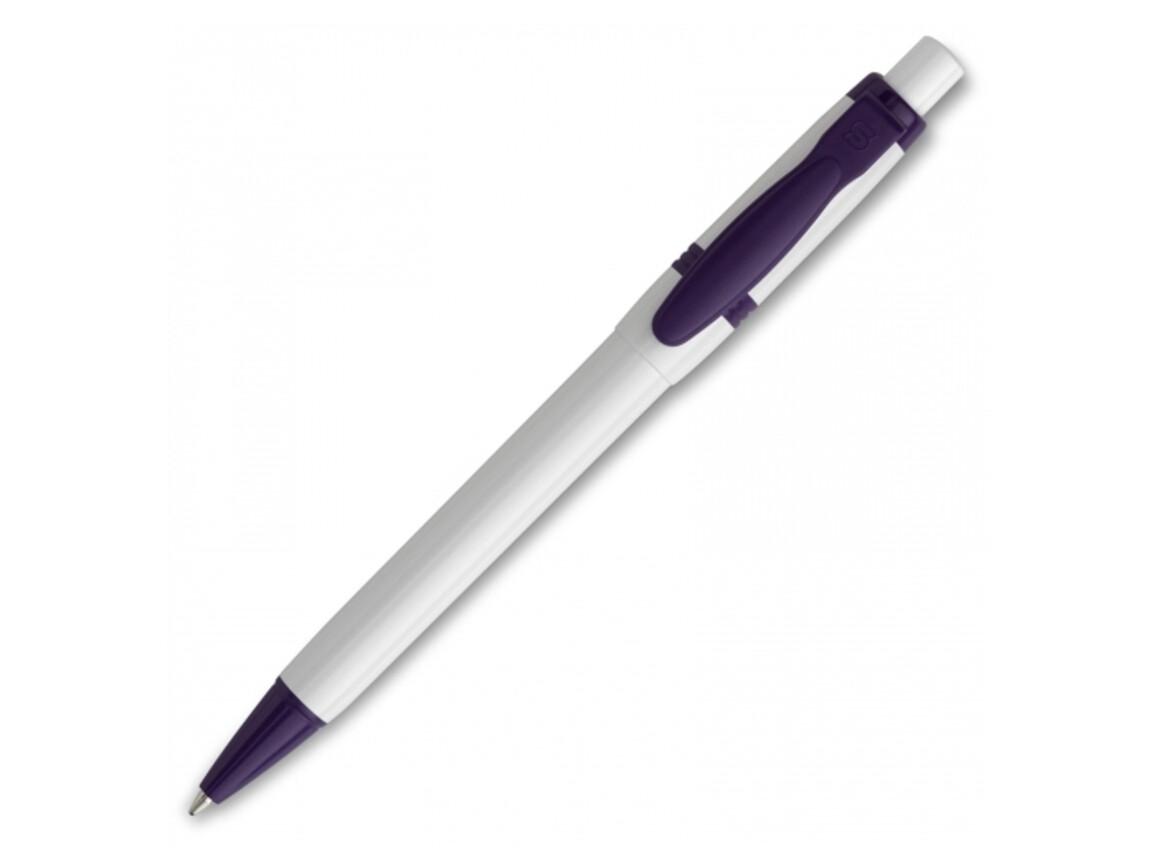 Kugelschreiber Olly hardcolour - Weiss / Purple bedrucken, Art.-Nr. LT80940-N0172