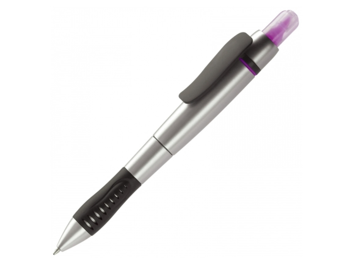 Kugelschreiber mit Textmarker - Silber / Rosé bedrucken, Art.-Nr. LT81252-N0576