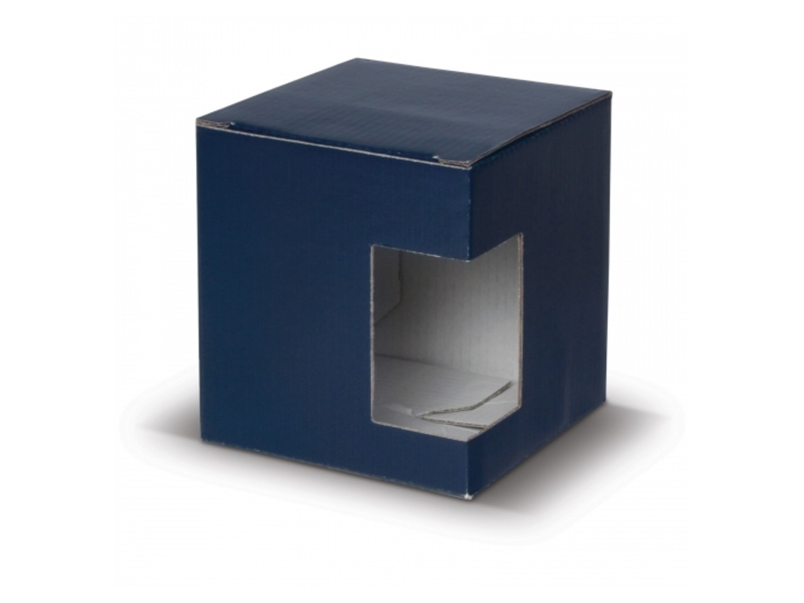 Verpackung Tassen mit Fenster - Blau bedrucken, Art.-Nr. LT83200-N0011