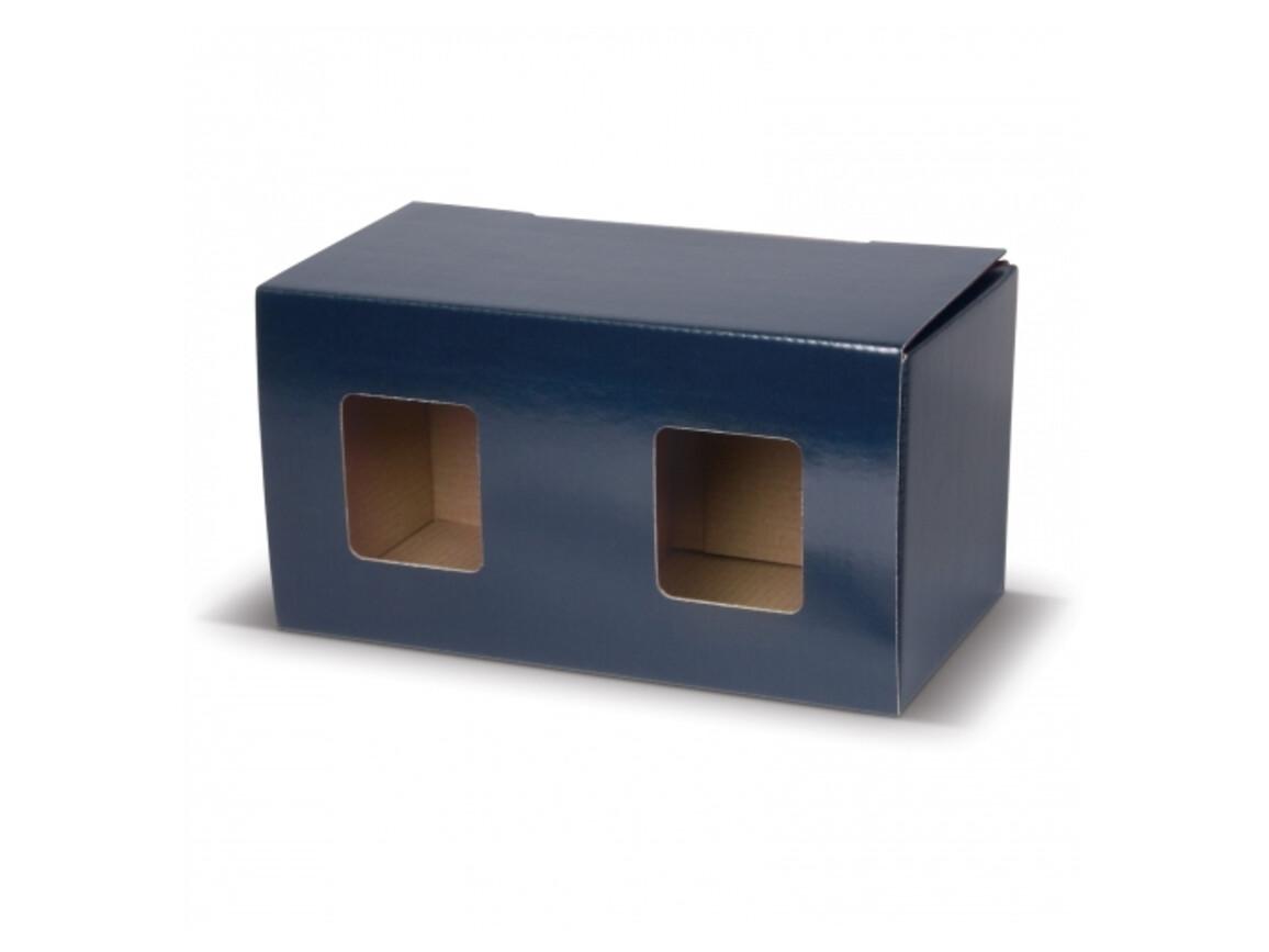Verpackung für zwei Becher mit Fenster - Blau bedrucken, Art.-Nr. LT83201-N0011