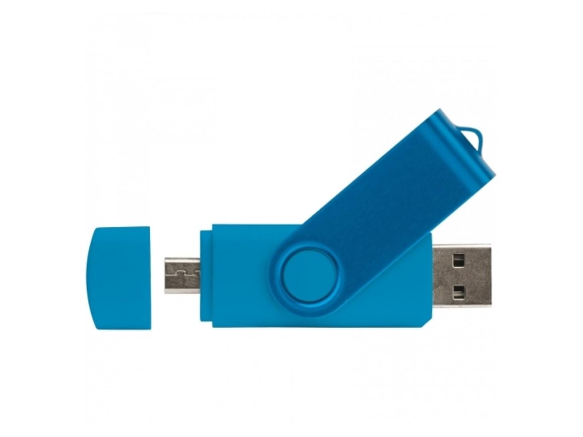 USB 2.0 OTG 16GB Flash Drive Twister - Hellblau bedrucken, Art.-Nr. LT26804-N0012