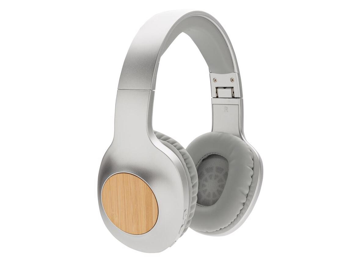 Dakota Bambus kabelloser Kopfhörer grau, grau bedrucken, Art.-Nr. P329.232