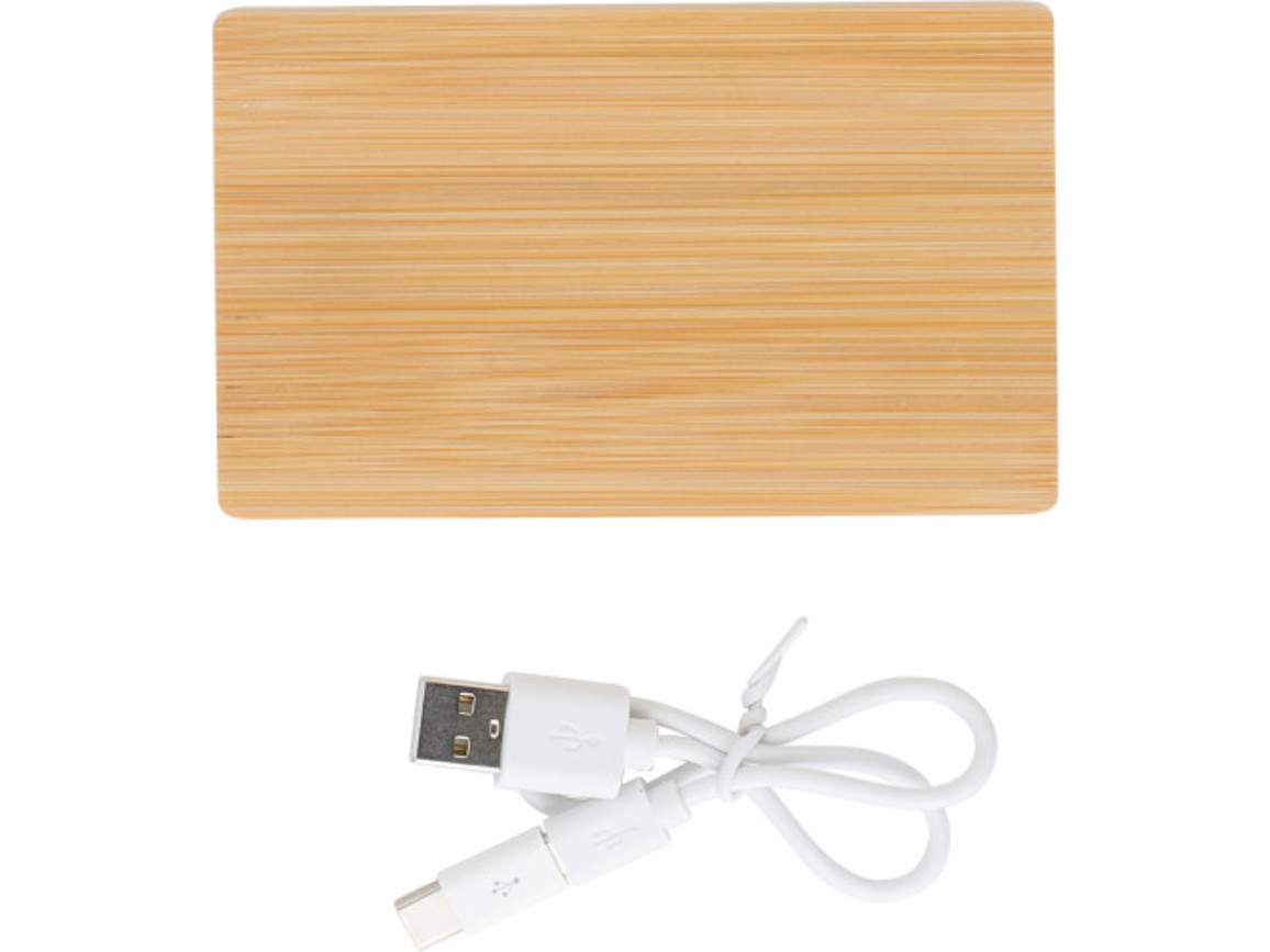 Powerbank 'Bamboo Power 1' aus Bambus – Braun bedrucken, Art.-Nr. 011999999_9147