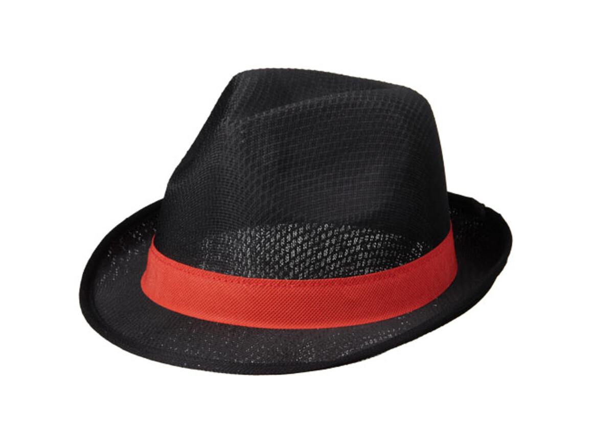 Tribly Hut mit Band, schwarz, rot bedrucken, Art.-Nr. 11107013