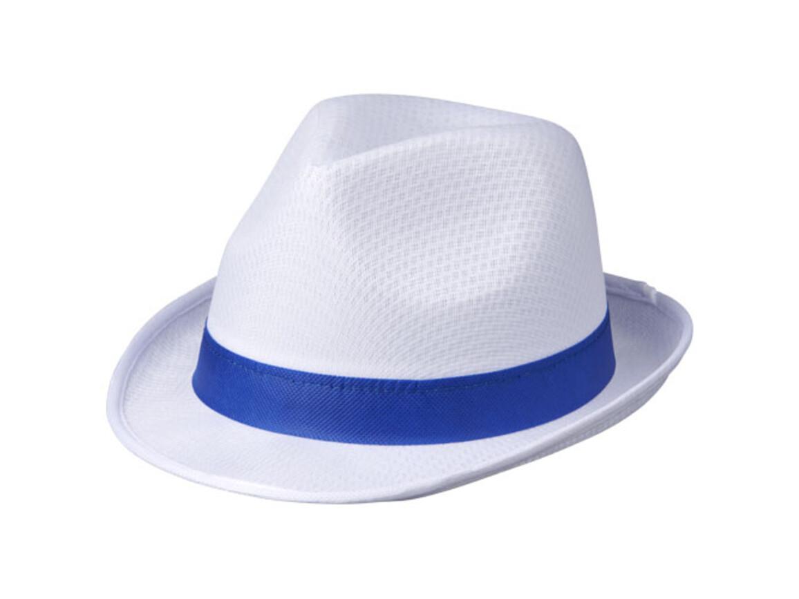 Tribly Hut mit Band, weiss, blau bedrucken, Art.-Nr. 11107025