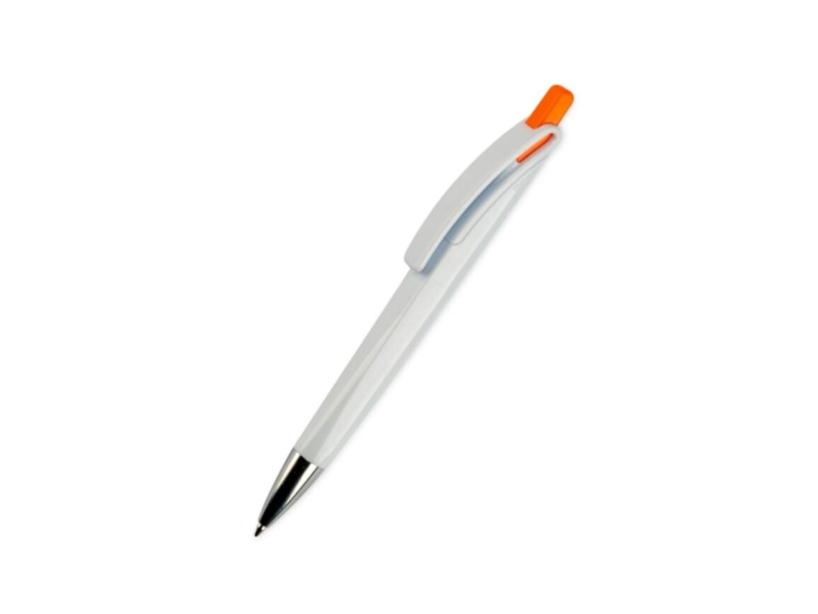 "Kugelschreiber Modell ""Riva Vollfarbig"" - Weiss / Orange bedrucken, Art.-Nr. LT80835-N0126"