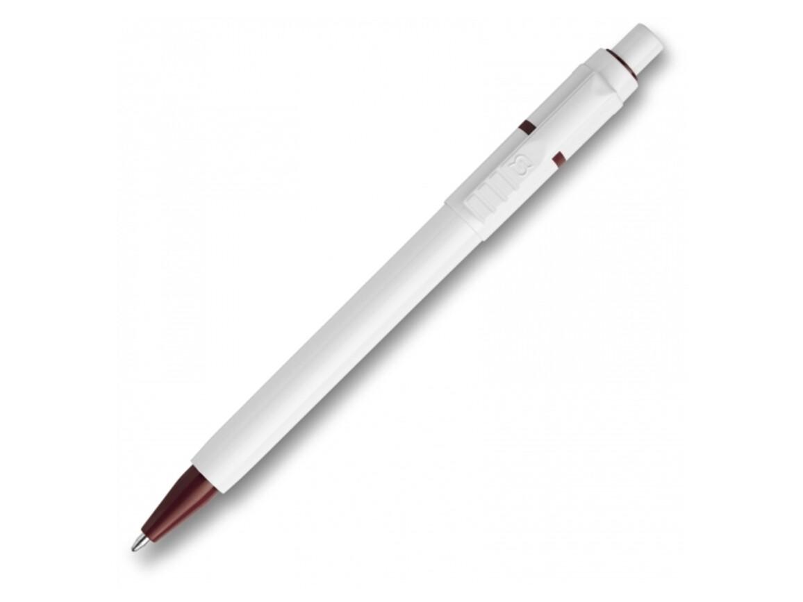 Kugelschreiber Baron hardcolour - Weiss / Dunkelrot bedrucken, Art.-Nr. LT80906-N0120