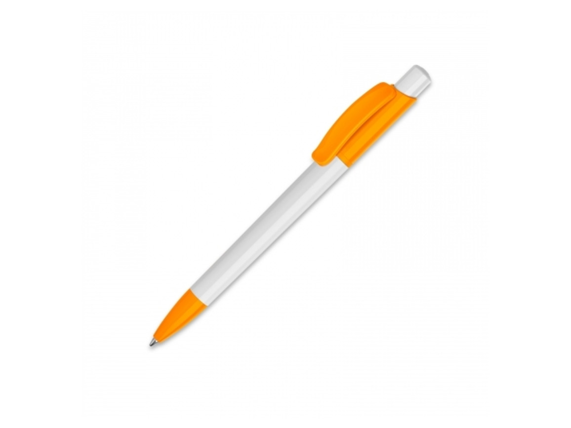 Kugelschreiber Kamal hardcolour - Weiss / Orange bedrucken, Art.-Nr. LT80915-N0126