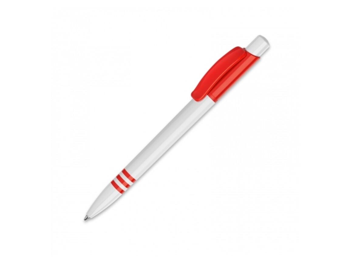 Kugelschreiber Tropic hardcolour - Weiss / Rot bedrucken, Art.-Nr. LT80918-N0121